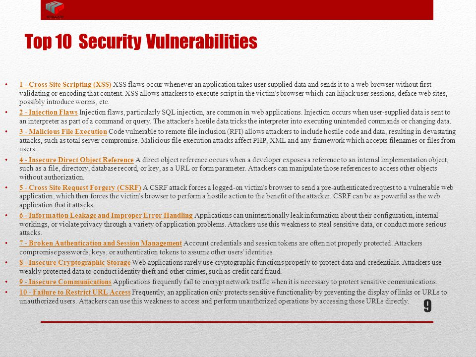 Top 10 Security Vulnerabilities