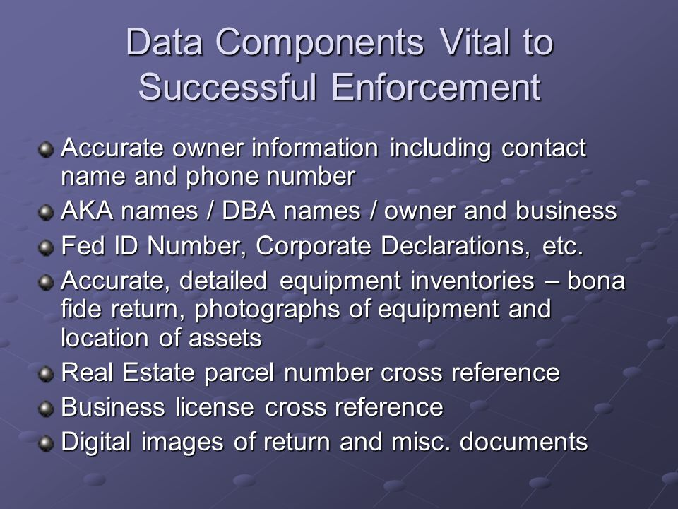 Data Components Vital to Successful Enforcement