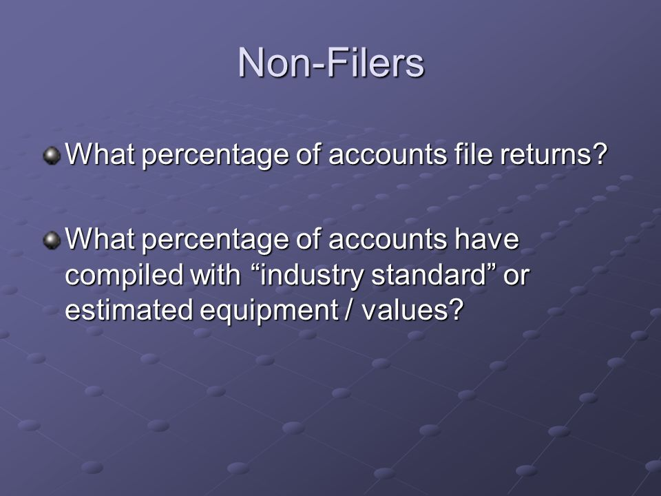 Non-Filers What percentage of accounts file returns