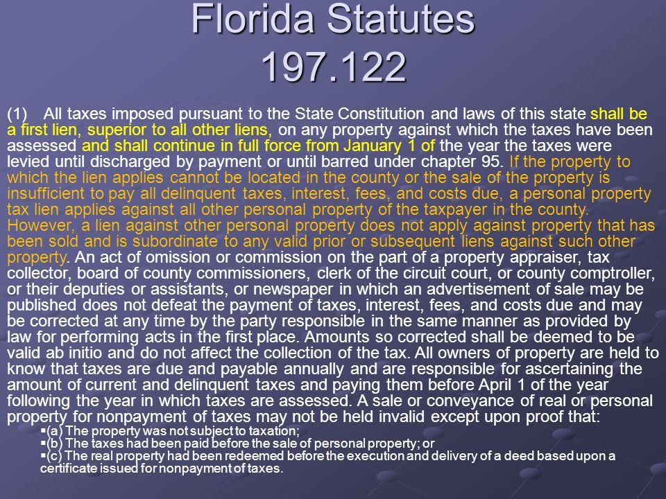 Florida Statutes 197.122