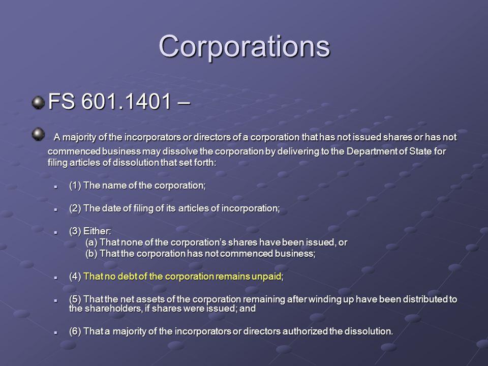 Corporations FS 601.1401 –
