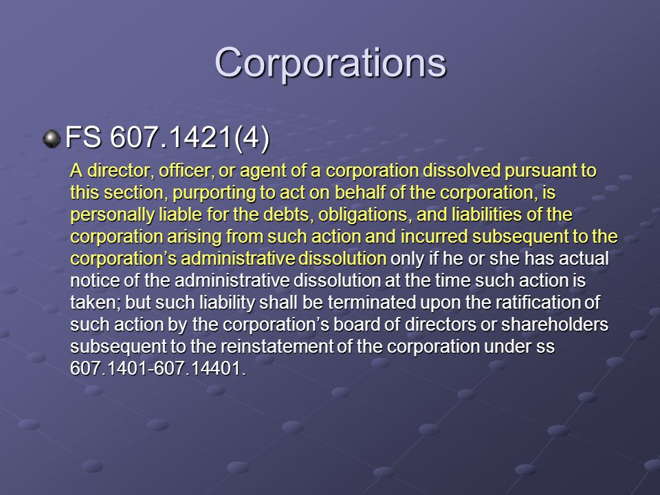 Corporations FS 607.1421(4)