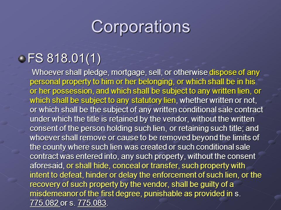 Corporations FS 818.01(1)