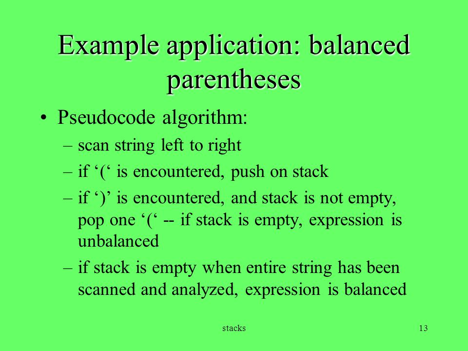 Example application: balanced parentheses