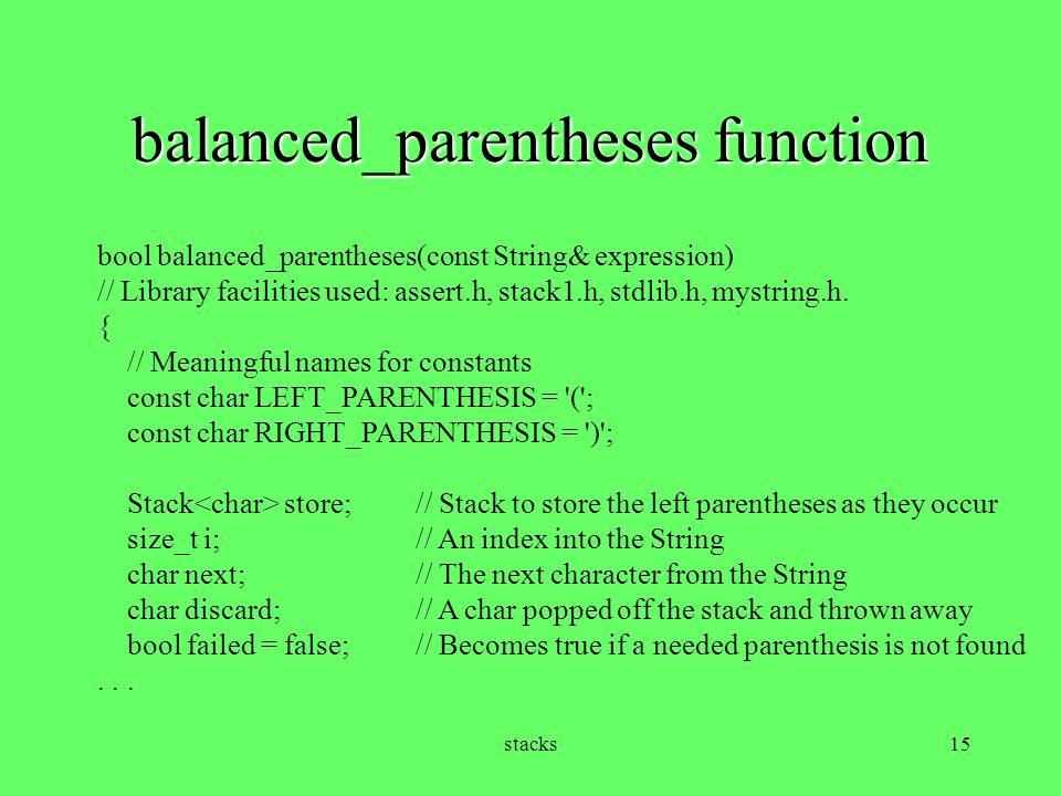 balanced_parentheses function