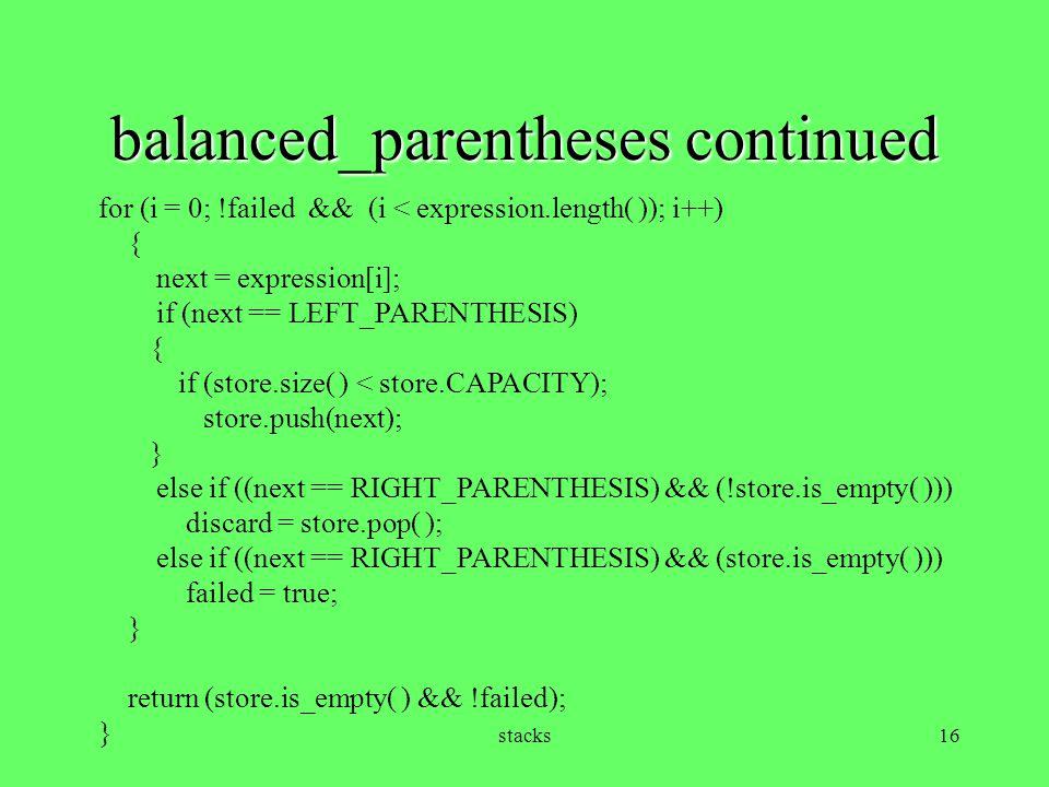 balanced_parentheses continued