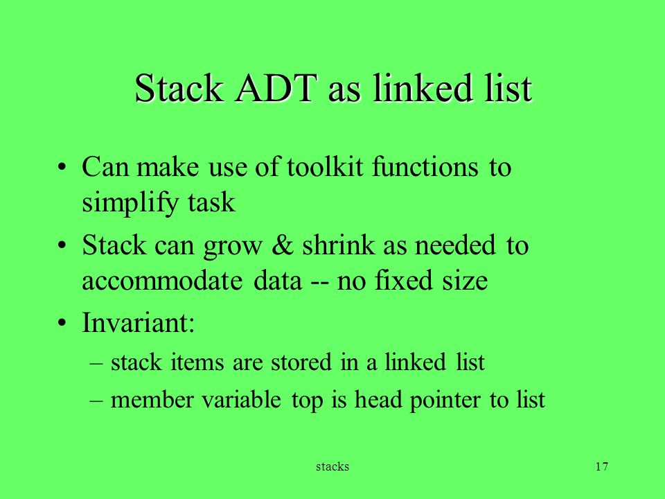 Stack ADT as linked list