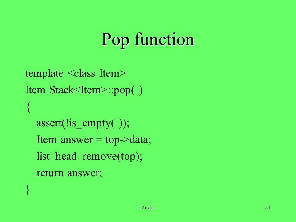 Pop function template <class Item>