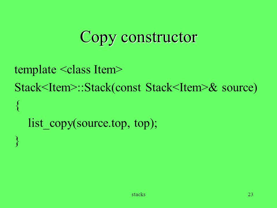 Copy constructor template <class Item>