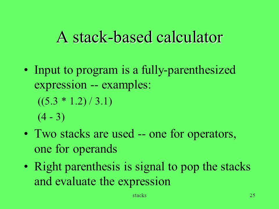 A stack-based calculator