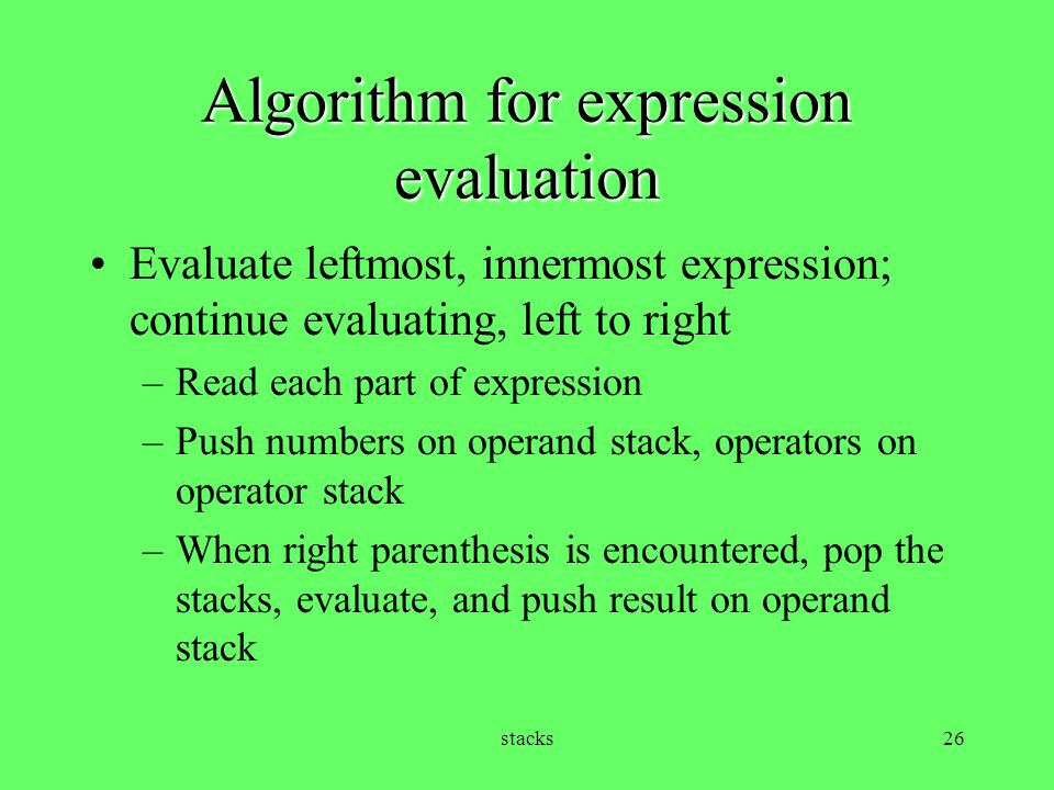 Algorithm for expression evaluation