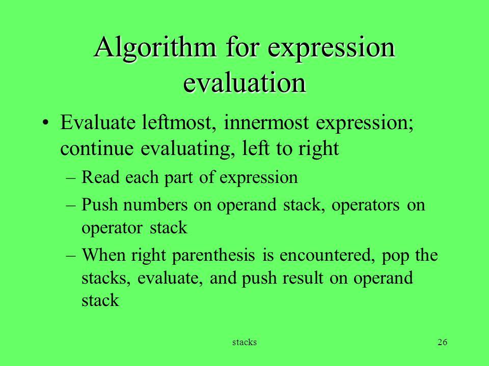 Algorithm for expression evaluation