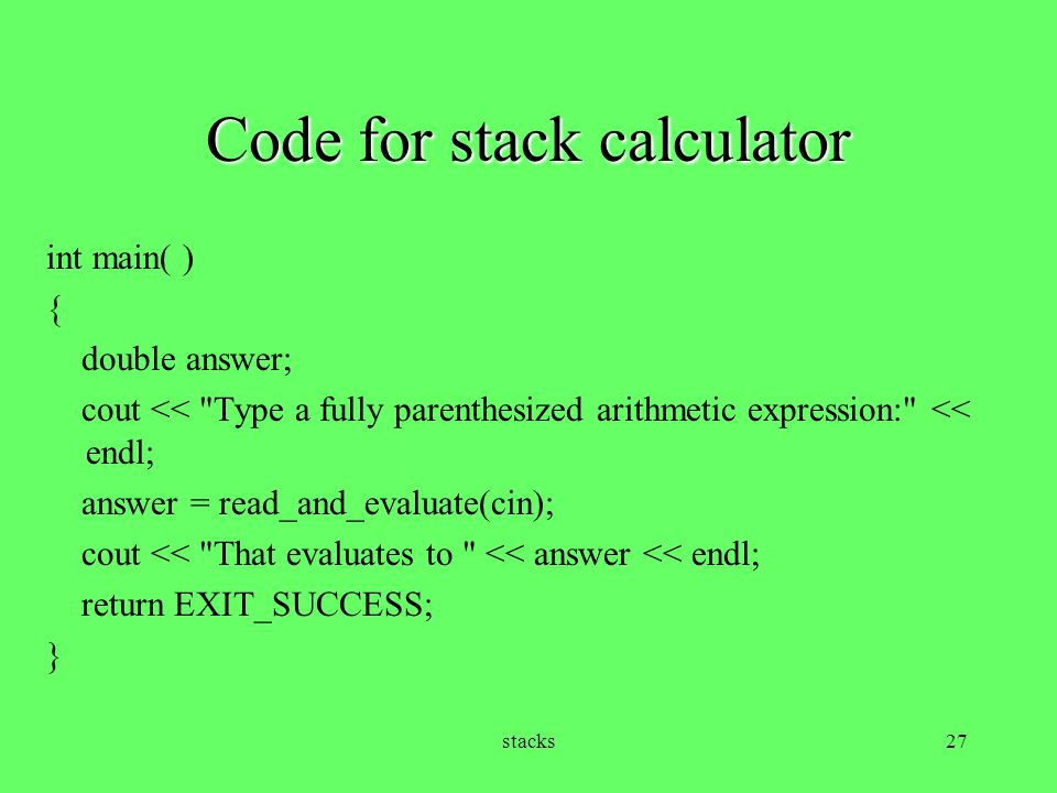 Code for stack calculator