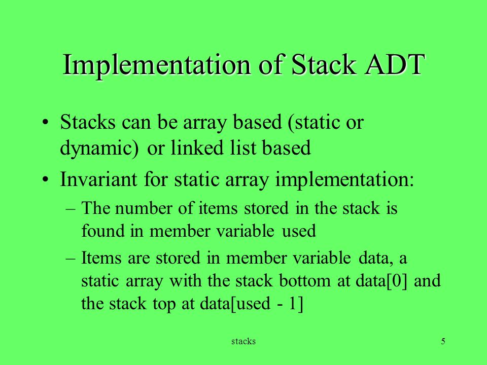 Implementation of Stack ADT