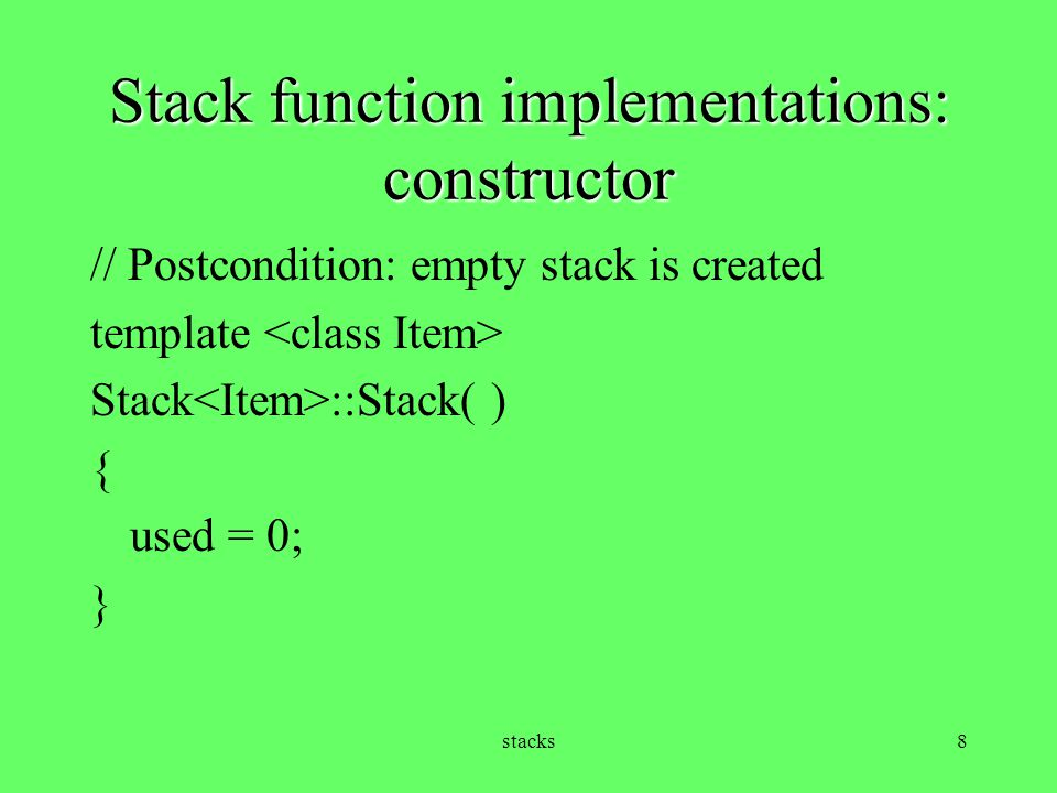 Stack function implementations: constructor
