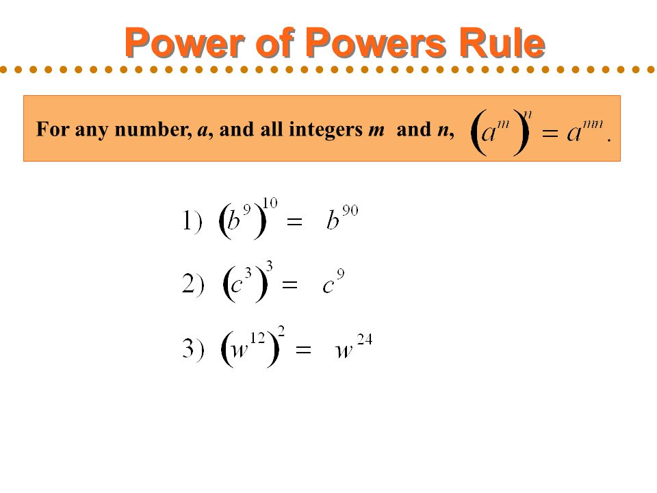 Power of Powers Rule For any number, a, and all integers m and n,