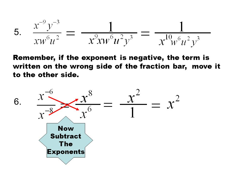 5. Remember, if the exponent is negative, the term is written on the wrong side of the fraction bar, move it to the other side.