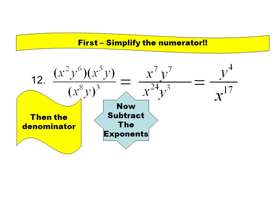 First – Simplify the numerator!!