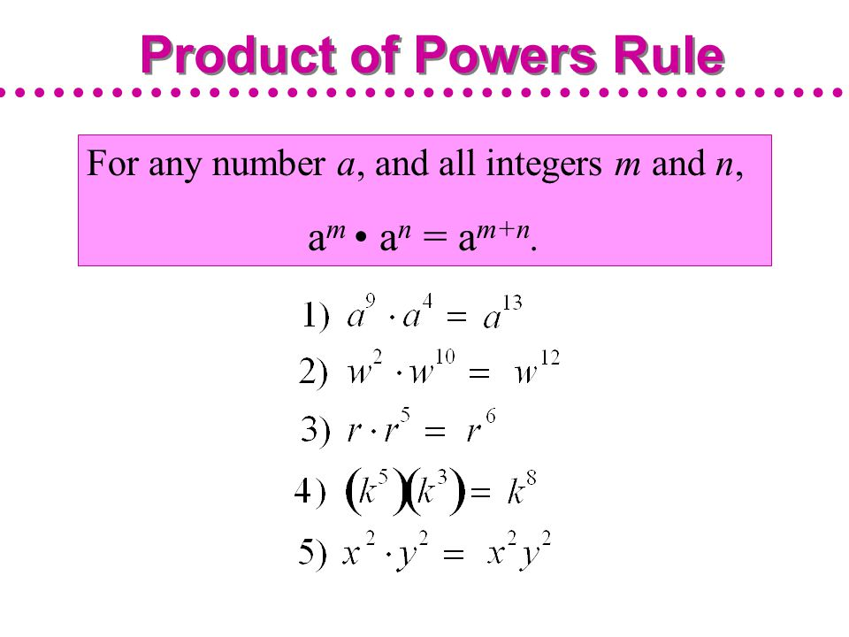 Product of Powers Rule am • an = am+n.