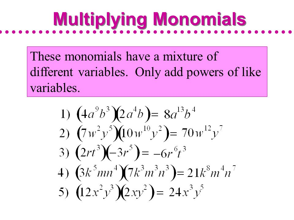 Multiplying Monomials and Raising Monomials to Powers ppt video – Multiply Monomials Worksheet