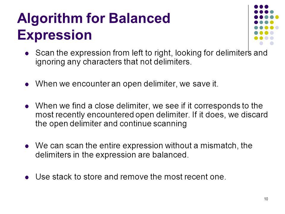 Algorithm for Balanced Expression