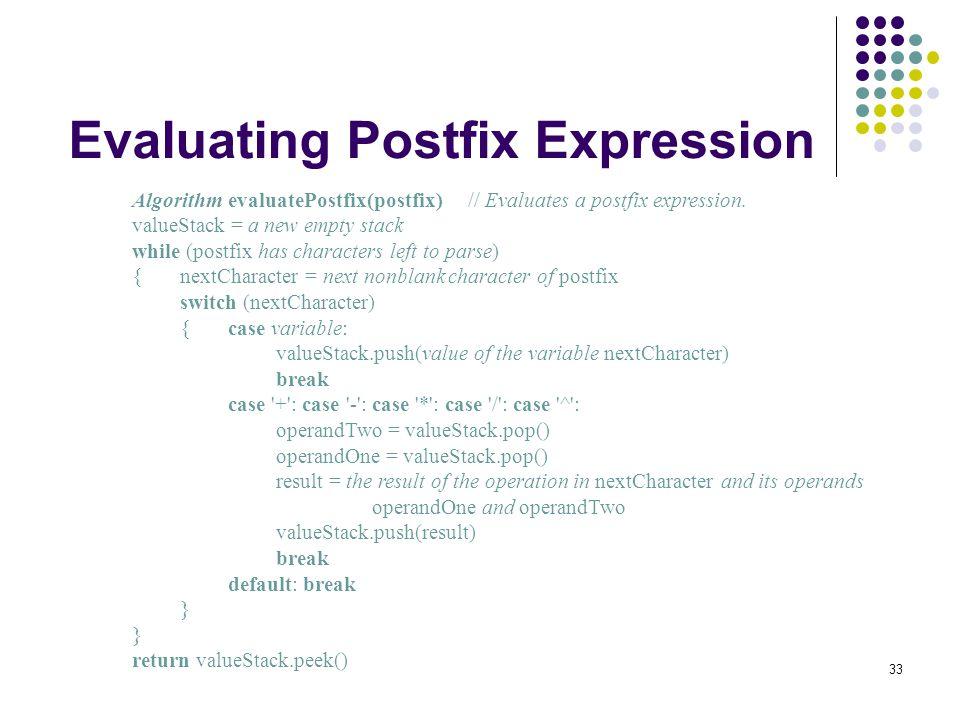 Evaluating Postfix Expression
