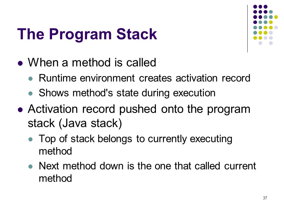 The Program Stack When a method is called