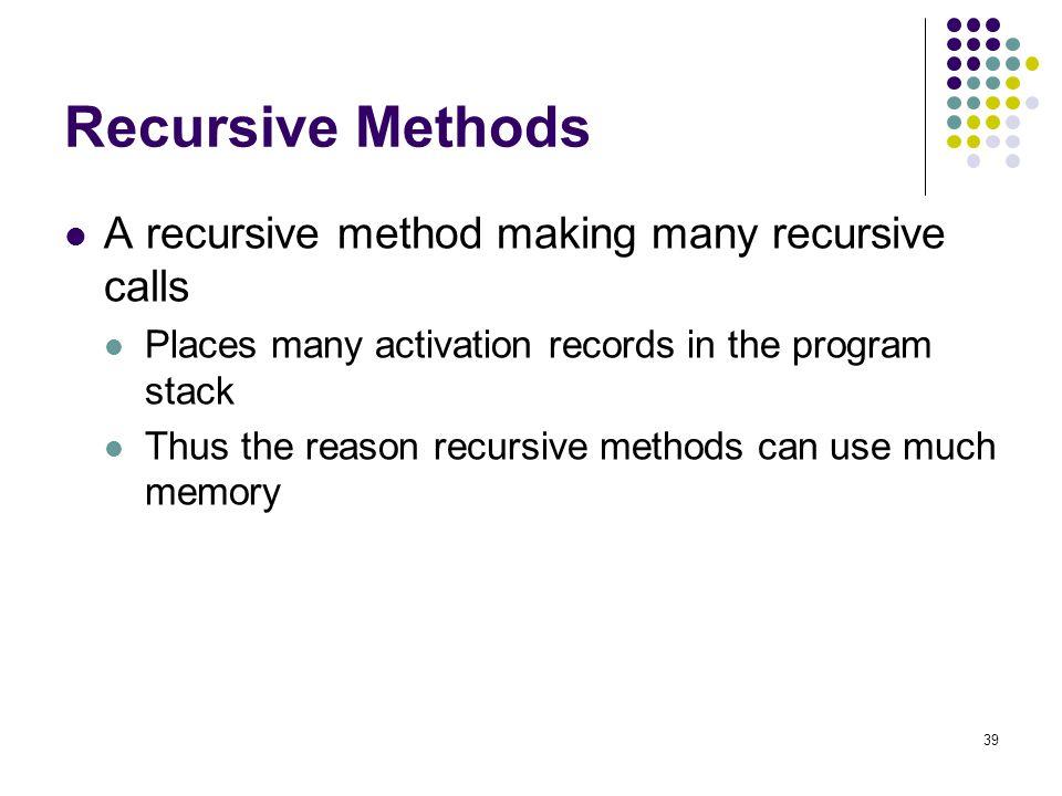 Recursive Methods A recursive method making many recursive calls