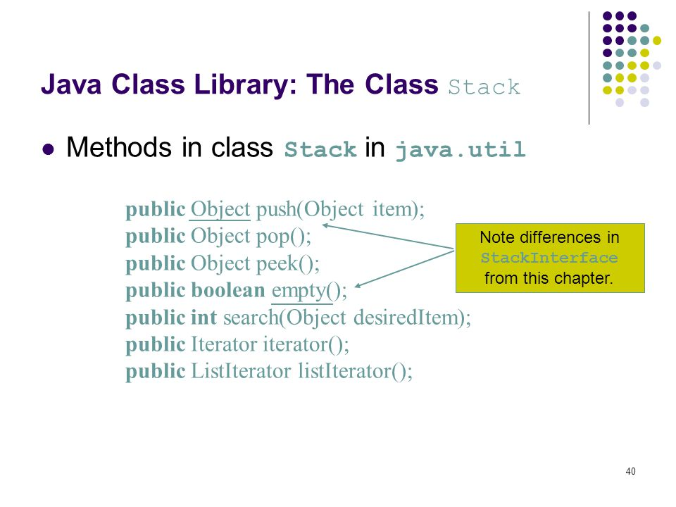 Java Class Library: The Class Stack