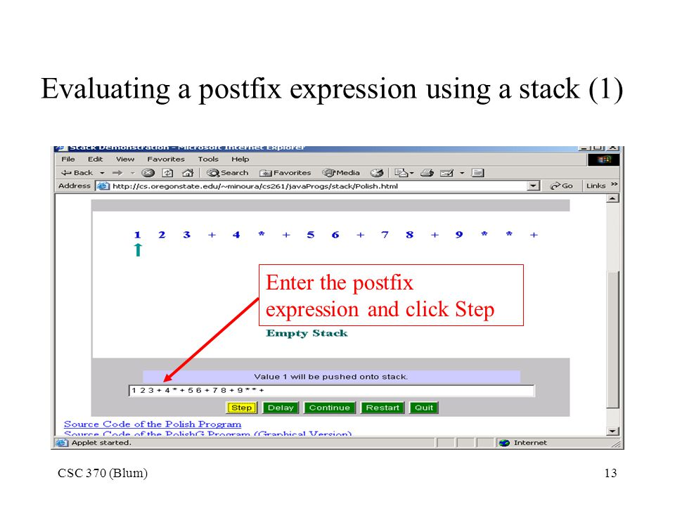 Evaluating a postfix expression using a stack (1)