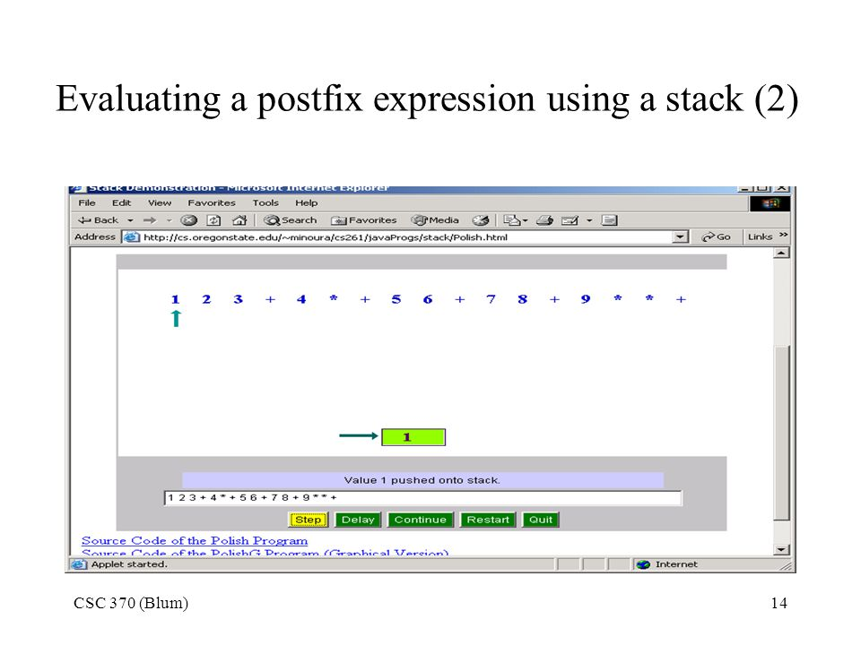 Evaluating a postfix expression using a stack (2)