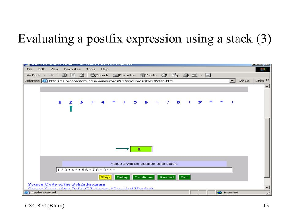 Evaluating a postfix expression using a stack (3)