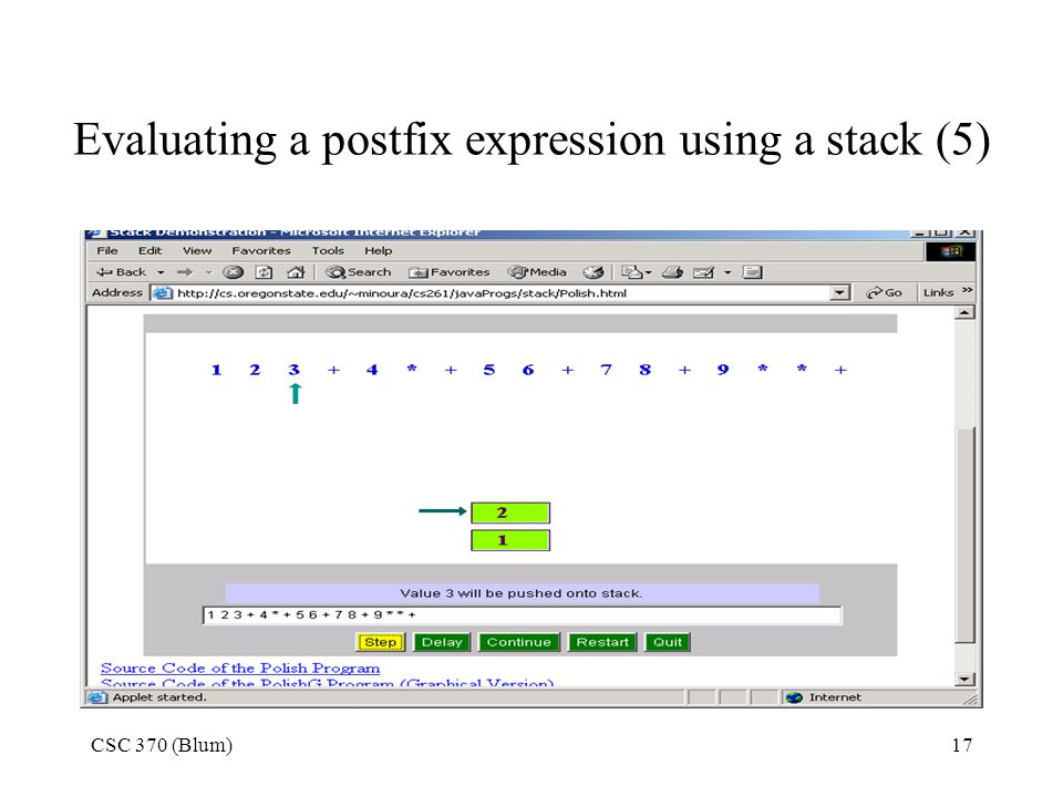 Evaluating a postfix expression using a stack (5)