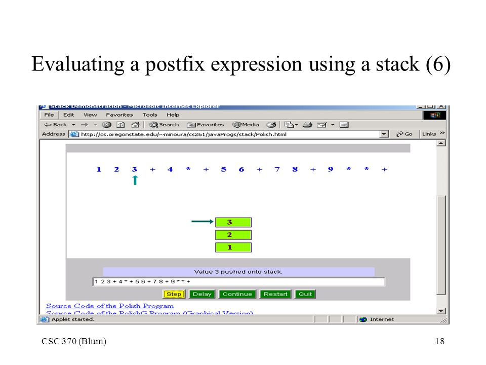 Evaluating a postfix expression using a stack (6)