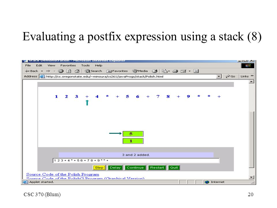 Evaluating a postfix expression using a stack (8)