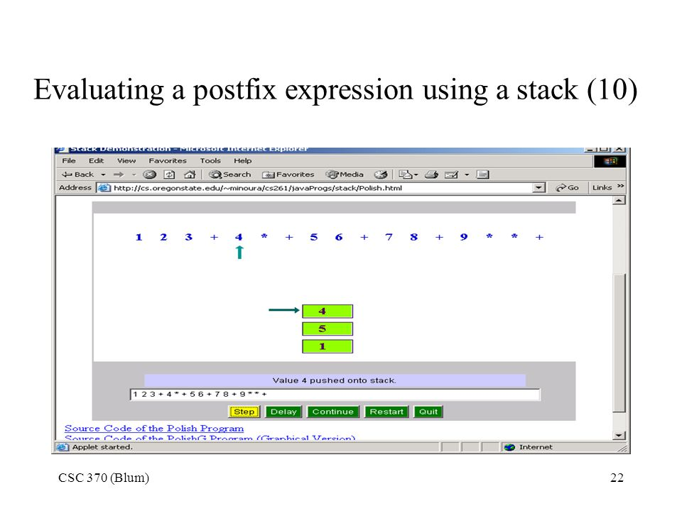 Evaluating a postfix expression using a stack (10)