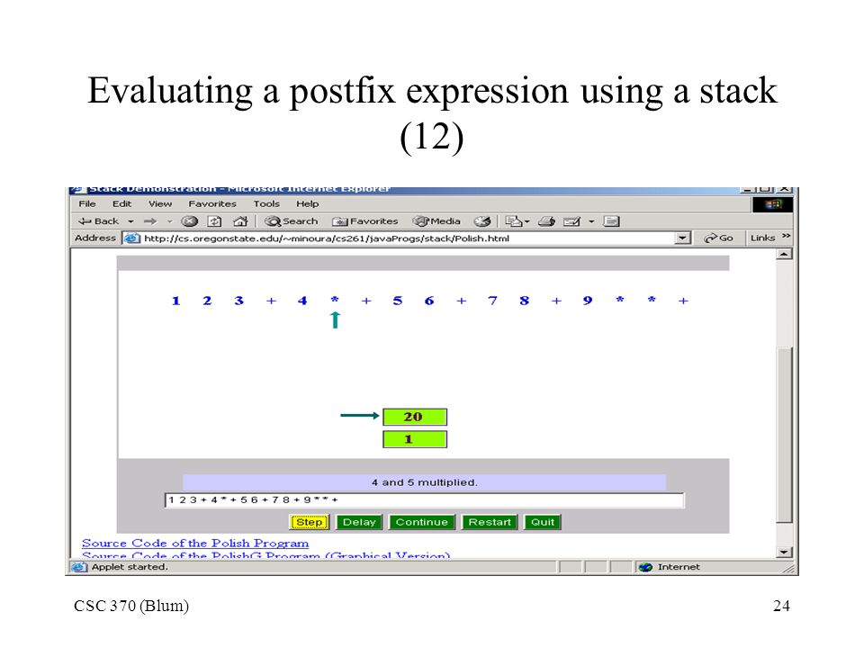 Evaluating a postfix expression using a stack (12)