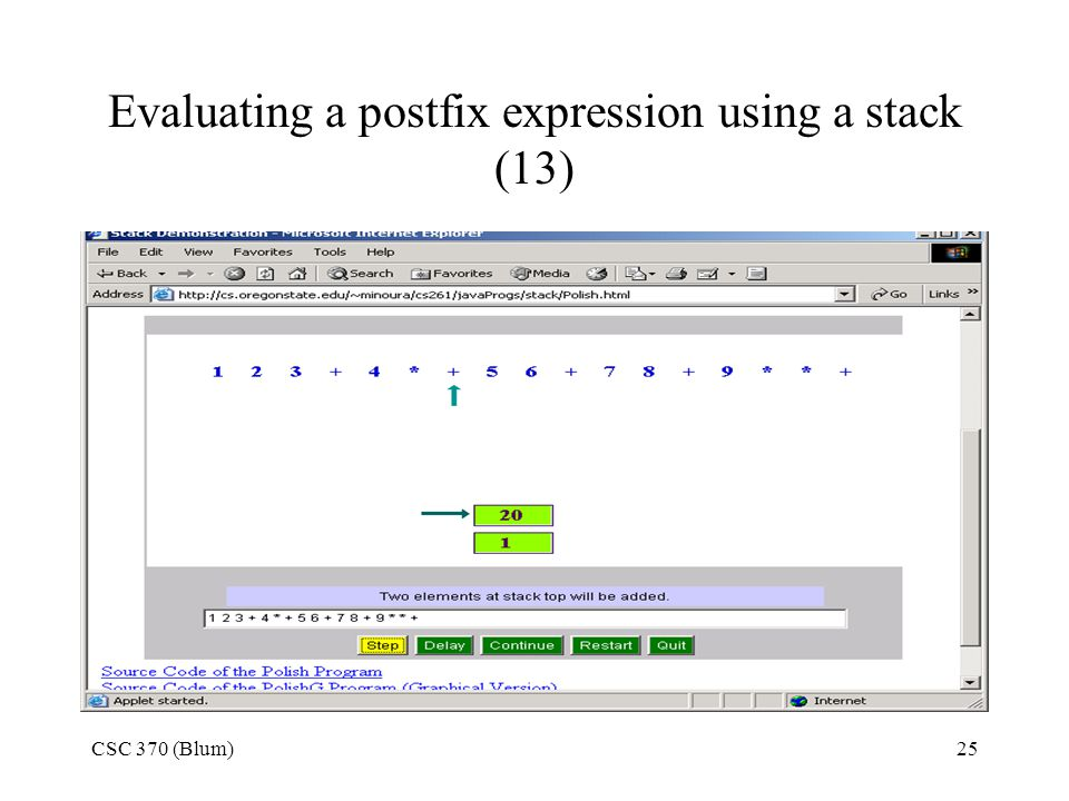 Evaluating a postfix expression using a stack (13)
