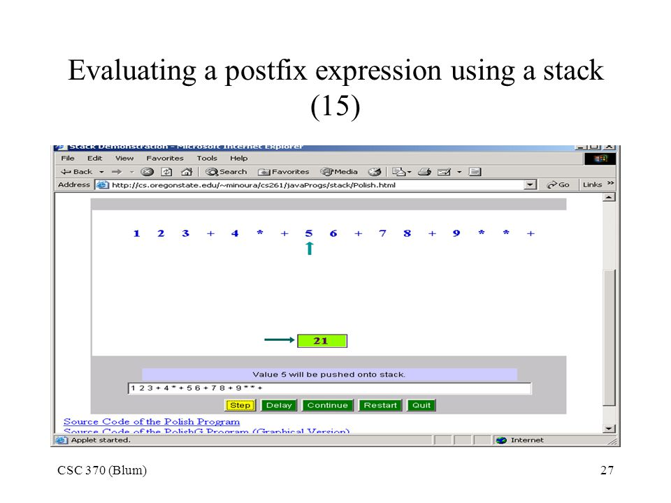 Evaluating a postfix expression using a stack (15)