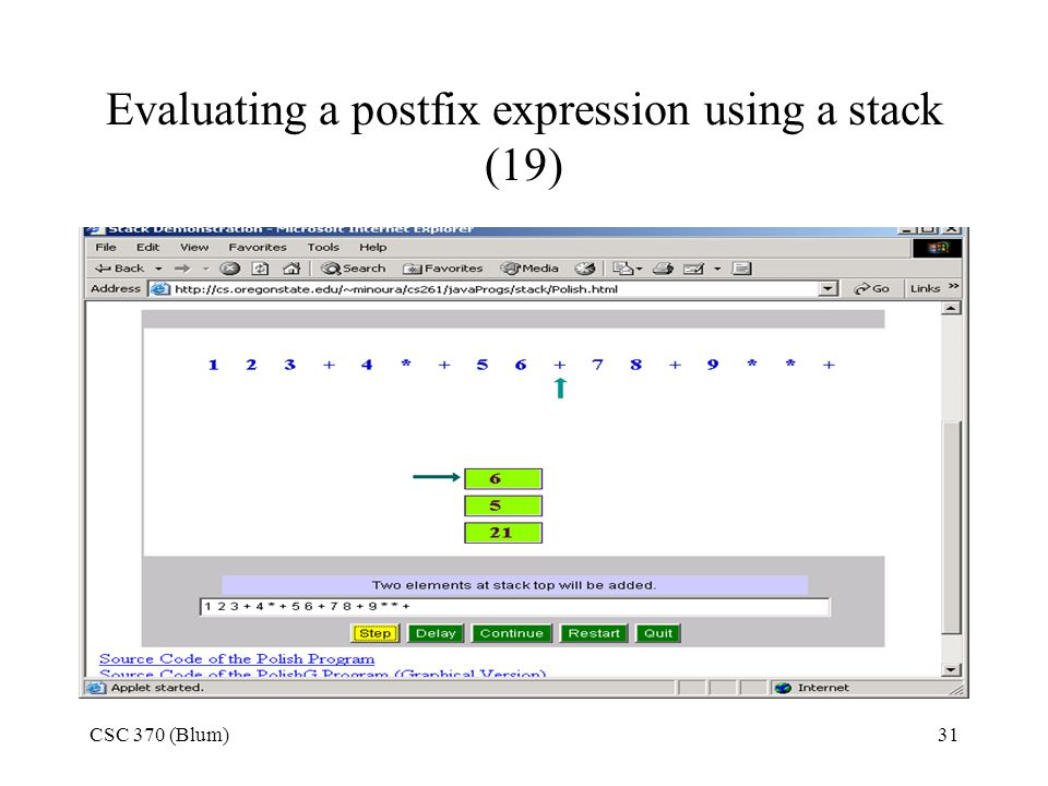 Evaluating a postfix expression using a stack (19)
