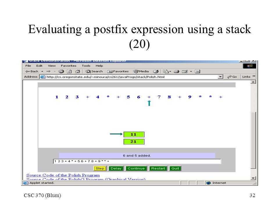 Evaluating a postfix expression using a stack (20)