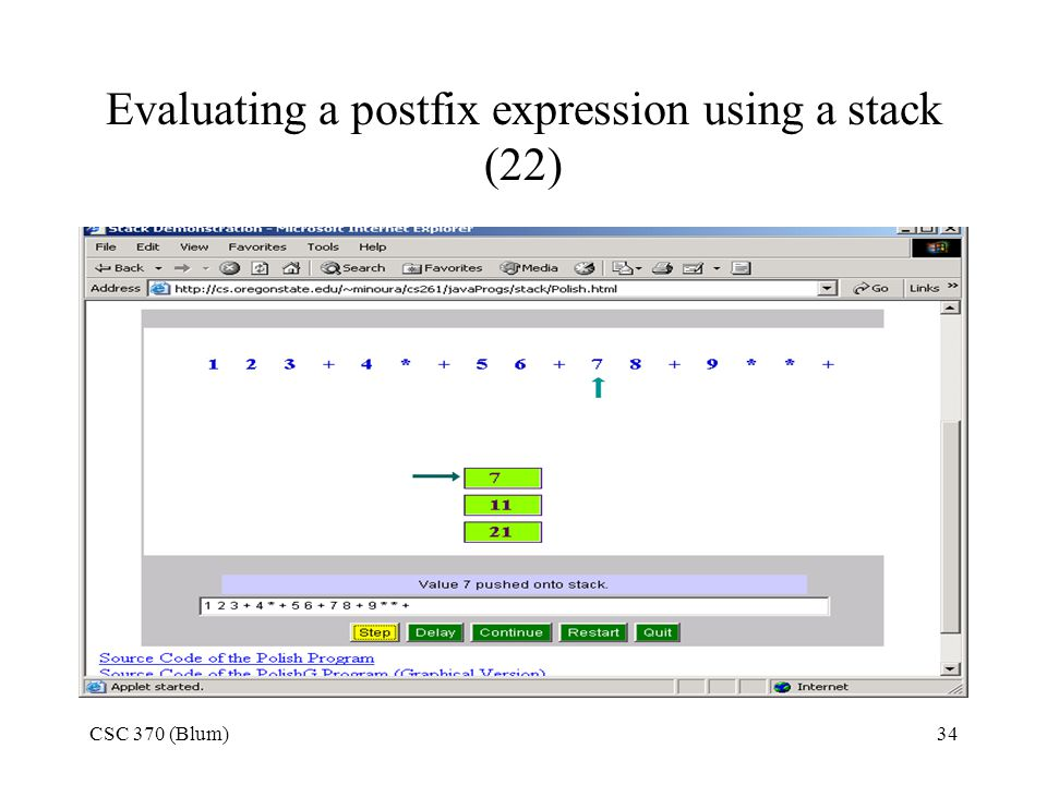 Evaluating a postfix expression using a stack (22)