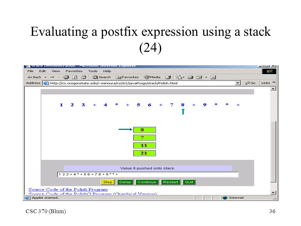 Evaluating a postfix expression using a stack (24)