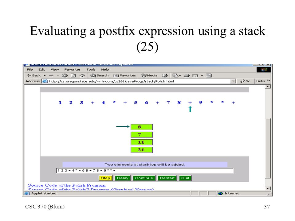 Evaluating a postfix expression using a stack (25)