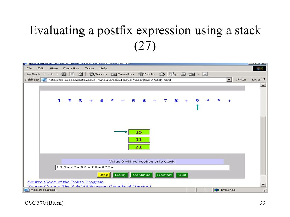 Evaluating a postfix expression using a stack (27)