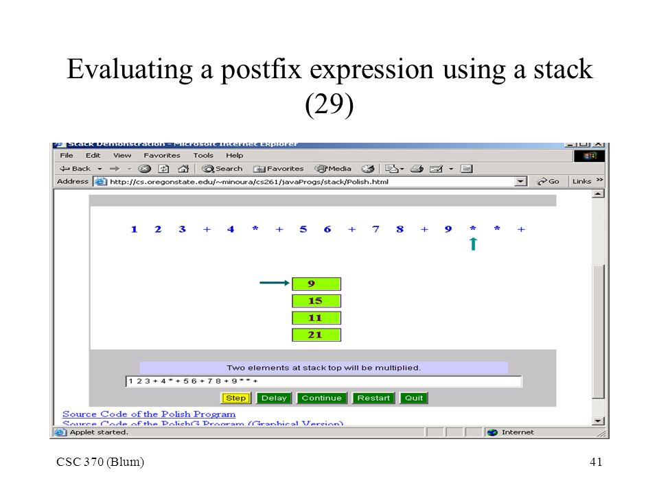 Evaluating a postfix expression using a stack (29)