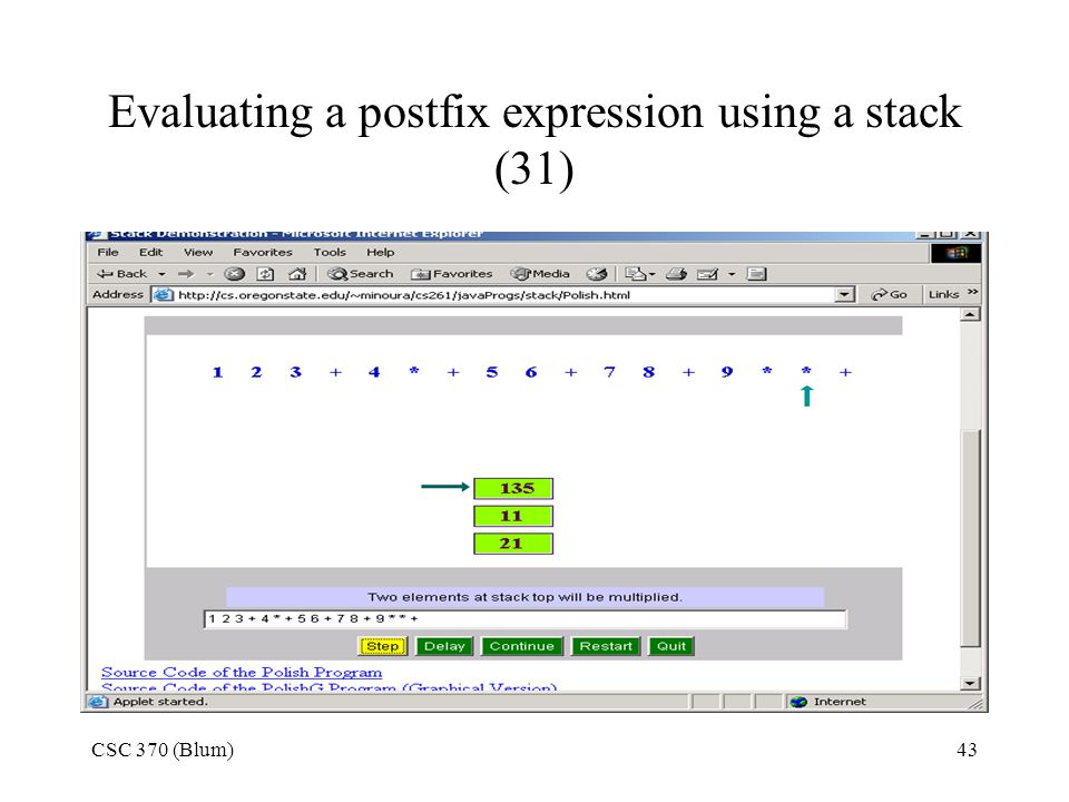 Evaluating a postfix expression using a stack (31)