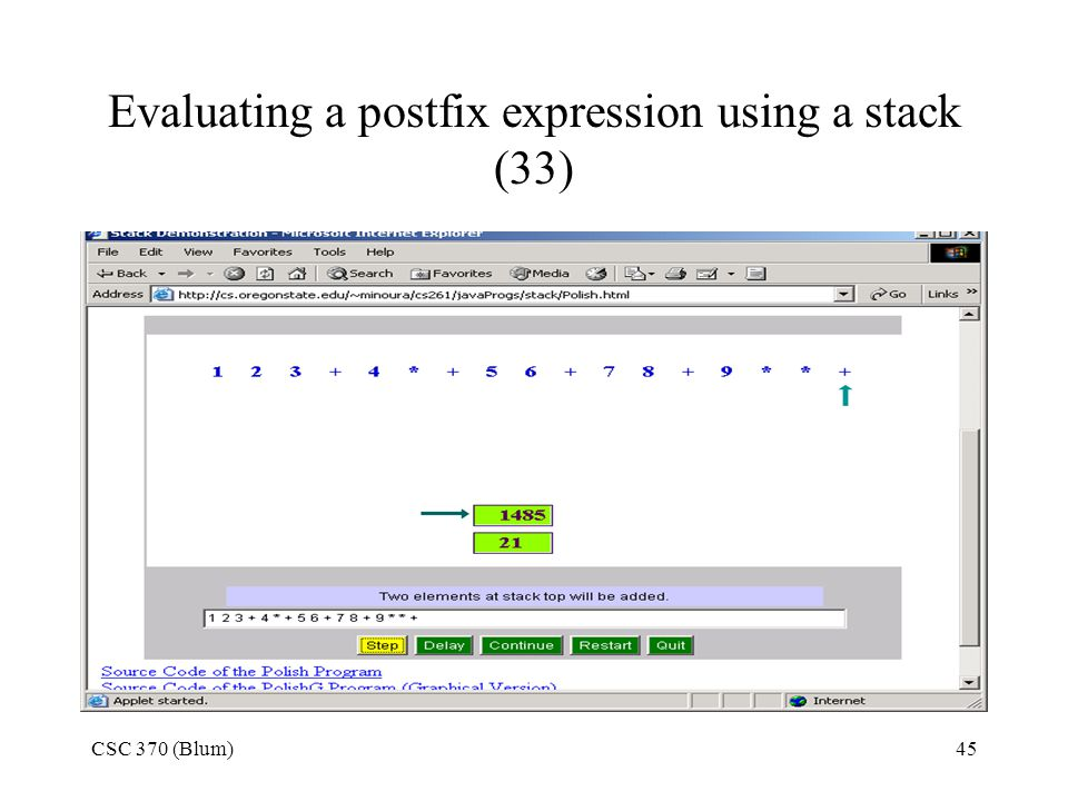Evaluating a postfix expression using a stack (33)