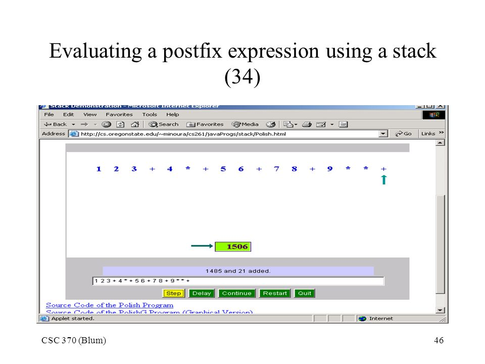 Evaluating a postfix expression using a stack (34)