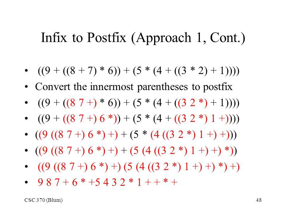 Infix to Postfix (Approach 1, Cont.)